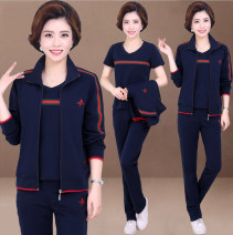 Middle aged and old women's wear Winter 2019, spring 2020, autumn 2020 L,XL,XXL,XXXL,4XL,5XL,6XL leisure time suit easy Three piece set Solid color 40-49 years old Socket thickening stand collar have cash less than that is registered in the accounts routine LJ7711 Shuyanis pocket cotton zipper