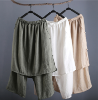 Casual pants White, black, beige, greyish green Average size Summer 2020 Cropped Trousers Wide leg pants Natural waist Thin money 96% and above cotton cotton