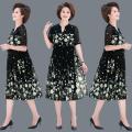 Middle aged and old women's wear Summer 2021 fashion Dress easy singleton  Decor 50-59 years old Socket thin V-neck Medium length routine Gauze Chiffon, polyester longuette Chiffon Pleated skirt