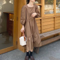 Dress Autumn 2020 Apricot, coffee Average size longuette singleton  Long sleeves commute square neck Loose waist Solid color Socket Cake skirt 25-29 years old Type H Korean version