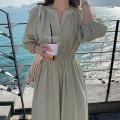 Dress Spring 2021 White, green Average size longuette singleton  Long sleeves commute V-neck High waist Solid color Socket puff sleeve 25-29 years old Type H Korean version 3256#