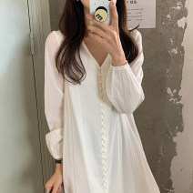 Dress Summer 2021 white Average size longuette singleton  Long sleeves commute V-neck Loose waist Solid color Single breasted puff sleeve 18-24 years old Type H Korean version