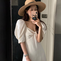 Dress Summer 2021 white Average size longuette singleton  Short sleeve commute High waist Solid color Socket puff sleeve 18-24 years old Type H Korean version