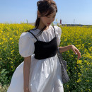 Dress Summer 2021 Dress with sling Average size longuette Two piece set Short sleeve commute High waist Socket puff sleeve 18-24 years old Type H Korean version cotton