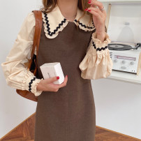 Dress Winter 2020 Apricot shirt, Kha vest skirt Average size Mid length dress Two piece set Sleeveless commute Crew neck High waist Solid color Socket 18-24 years old Type H Korean version