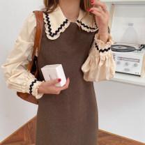 Dress Winter 2020 Apricot shirt, Kha vest skirt Average size Mid length dress Two piece set Sleeveless commute Crew neck High waist Solid color Socket 18-24 years old Type H Korean version