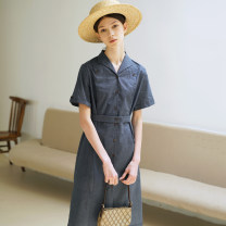 Dress Summer 2020 Navy Blue S, M Middle-skirt singleton  Short sleeve Loose waist Solid color Single breasted routine Type H Plain white already E200304 More than 95% cotton