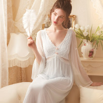 Nightdress ROSE TREE Light blue (with chest pad), off white (with chest pad) XS,S,M,L,XL sexy Long sleeves pajamas longuette spring Solid color youth V-neck nylon Hollowing out 81% (inclusive) - 95% (inclusive) Mesh fabric s21027