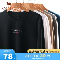 T-shirt Fashion City routine M L XL XXL XXXL Camel Long sleeves Crew neck standard Other leisure autumn Cotton 93.6% polyurethane elastic fiber (spandex) 6.4% youth routine Basic public Knitted fabric Autumn of 2019 Solid color printing Brand logo other