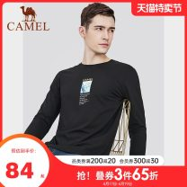T-shirt Fashion City routine M L XL XXL XXXL Camel Long sleeves V-neck standard Other leisure Cotton 100% youth routine Basic public Knitted fabric Autumn 2020 stripe printing other Same model in shopping mall (sold online and offline)