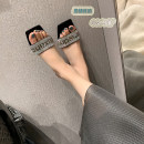 Sandals 34,35,36,37,38,39,40 silk Other / other Barefoot Fine heel Middle heel (3-5cm) Summer 2021 Trochanter sexy Solid color Adhesive shoes Youth (18-40 years old) rubber daily Back space rhinestone Low Gang Hollow Sheepskin Sheepskin Flat buckle Shaving