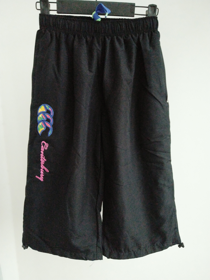 Sports pants / shorts black Two Other / other Five hundred and eighty-eight For children 12YRS Ninth pants Summer of 2018 Moisture absorption, perspiration, UV resistance, quick drying, breathable and waterproof Tightness Brand logo letter embroidery Sports & Leisure polyester fiber polyester cotton