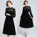 Dress Spring 2021 Black (stand collar mesh with elastic waist) S,M,L,XL,2XL Mid length dress Long sleeves stand collar Elastic waist Socket Lantern skirt Princess sleeve 25-29 years old