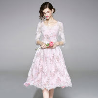 Dress Spring of 2019 M,L,XL,2XL longuette Two piece set three quarter sleeve street Crew neck middle-waisted A-line skirt other Others Type A Lace Europe and America