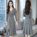 Dress Autumn 2020 Check (V-neck double breasted fishtail split) S,M,L,XL Mid length dress singleton  Long sleeves commute V-neck middle-waisted lattice Socket routine Others 25-29 years old Type A