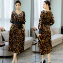 Dress Spring 2020 Leopard chain print (belt free) M,L,XL,2XL,3XL Mid length dress singleton  Long sleeves street V-neck Leopard Print other Others 35-39 years old other