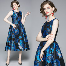 Dress Summer 2020 Back zipper with black background and blue jacquard silver edge S,M,L,XL,2XL Mid length dress singleton  street Crew neck middle-waisted zipper Big swing Type A Europe and America