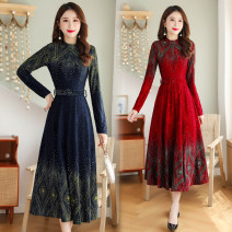 Dress Winter of 2019 Red (elastic knitted chest elastic fold belt), Navy (chest elastic fold back zipper belt), purple (elastic knitted with lining) belt M,L,XL,2XL,3XL longuette singleton  Long sleeves commute High collar middle-waisted Decor Socket other other Others 35-39 years old Type A knitting