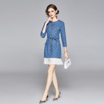 Dress Autumn 2020 blue M,L,XL,2XL Middle-skirt singleton  three quarter sleeve commute Crew neck middle-waisted other Socket Pleated skirt routine Others 25-29 years old Type A Angel City Splicing 3211# 31% (inclusive) - 50% (inclusive) Denim cotton