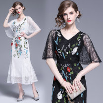 Dress Summer 2020 White (double V lotus sleeve with hip and fishtail back zipper, black (soft and drooping lace and leaf embroidery) M,L,XL,2XL Mid length dress singleton  street V-neck middle-waisted scenery other One pace skirt other Others Type H Embroidery, lace Lace Cellulose acetate
