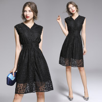 Dress Summer of 2019 Black (single breasted cardigan skirt with lining) S,M,L,XL,2XL Short skirt singleton  Sleeveless street V-neck High waist Single breasted Big swing Type A Lace, button Lace Europe and America