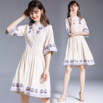 Dress Summer 2020 Apricot M. L, XL, 2XL, XXL weight 0.45kg Middle-skirt Two piece set elbow sleeve street stand collar middle-waisted Single breasted A-line skirt pagoda sleeve Others 35-39 years old Type A Embroidery 8932 real spot 51% (inclusive) - 70% (inclusive) Europe and America