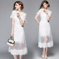 Dress Summer 2020 Elegant white (2-piece set), l weighs 0.52kg S,M,L,XL,2XL Mid length dress Two piece set Short sleeve street Crew neck middle-waisted Solid color A-line skirt routine Type A Europe and America