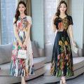Dress Spring 2020 White, black, blue M,L,XL,2XL,3XL longuette singleton  Short sleeve commute V-neck middle-waisted Decor Socket Big swing routine Others Korean version Print, zipper