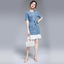 Dress Summer 2020 Blue (diamond jacquard denim gold zipper) M (4 fake pockets for belt), l (stitched white Pleated Chiffon belt), XL (4 gold buttons for belt), XXL (same fabric denim belt) Short skirt singleton  Short sleeve commute Crew neck routine Others Type A Other / other Denim