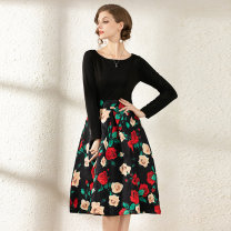 Dress Spring 2021 Elastic nylon cotton jacquard with inner zipper M,L,XL,2XL Middle-skirt Long sleeves Crew neck middle-waisted Decor zipper A-line skirt routine 30-34 years old Stitching, zipper, printing 31% (inclusive) - 50% (inclusive) other cotton