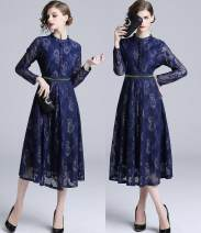 Dress Autumn 2020 blue S,M,L,XL longuette singleton  Long sleeves commute stand collar middle-waisted other A-line skirt Others 35-39 years old Type A Korean version Lace Cellulose acetate