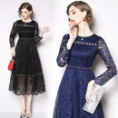 Dress Autumn of 2019 Black, blue S,M,L,XL,2XL Mid length dress singleton  Long sleeves street Crew neck middle-waisted zipper routine Others Type A Lace Europe and America