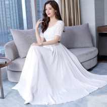 Dress Summer of 2019 Black (lace for chiffon belt), white (lace for chiffon belt) M,L,XL,2XL,3XL longuette singleton  Sleeveless commute One word collar middle-waisted Solid color Socket Big swing other Others Type X 81% (inclusive) - 90% (inclusive) Chiffon
