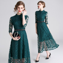 Dress Spring 2021 Dark green (single breasted zipper with Beaded Waist) S,M,L,XL,2XL longuette singleton  three quarter sleeve street stand collar High waist Solid color Single breasted Pleated skirt Type A Lace Europe and America
