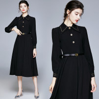 Dress Autumn 2020 black S,M,L,XL,XXL longuette singleton  Long sleeves commute Polo collar High waist Solid color Socket Big swing shirt sleeve Others 25-29 years old Type A Retro Button polyester fiber