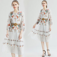 Dress Autumn 2020 Picture color M,L,XL,2XL longuette singleton  Long sleeves commute Crew neck High waist Decor Socket Big swing routine Others 25-29 years old Type A lady Rivet, printing 51% (inclusive) - 70% (inclusive) Chiffon polyester fiber