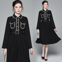 Dress Spring 2020 Black (real pocket) gold button with pleated side zipper M (belt with lining), l (belt with lining), XL (belt with lining), XXL (belt with lining) Mid length dress singleton  Long sleeves street Doll Collar middle-waisted Solid color Socket Pleated skirt routine Others Type A other