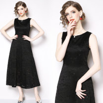 Dress Autumn of 2019 black S,M,L,XL,2XL,3XL longuette singleton  Sleeveless street Crew neck middle-waisted zipper Big swing Others Type A Lace Europe and America