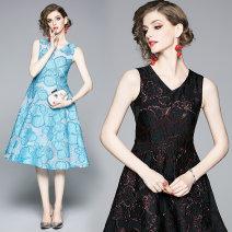 Dress Summer 2020 S,M,L,XL,2XL Mid length dress singleton  Sleeveless street V-neck middle-waisted zipper Big swing Type A Europe and America