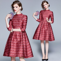 Dress Spring 2021 Dream red (stand collar with inner zipper) S,M,L,XL,2XL Mid length dress Nine point sleeve street stand collar middle-waisted other zipper Big swing routine Others 25-29 years old jacquard weave Europe and America