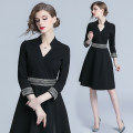 Dress Autumn of 2018 Black, blue S,M,L,XL,2XL Middle-skirt singleton  three quarter sleeve commute V-neck middle-waisted Solid color zipper A-line skirt routine Others Type A Patch, zipper