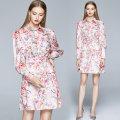 Dress Summer 2020 Pink M,L,XL,2XL Miniskirt singleton  Long sleeves Polo collar High waist Single breasted A-line skirt
