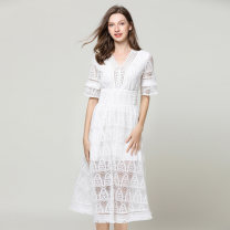 Dress Summer of 2019 white S. M, l, XL, maximum weight: 340g longuette singleton  Short sleeve commute V-neck High waist Solid color Socket A-line skirt routine 18-24 years old Type A Other / other Korean version Tassel, lace 51% (inclusive) - 70% (inclusive) Lace nylon