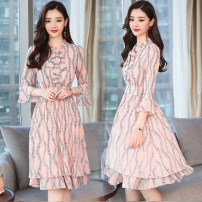 Dress Spring of 2019 Yellow, red, pink, light blue S,M,L,XL,2XL,3XL longuette singleton  three quarter sleeve Sweet middle-waisted Decor zipper A-line skirt pagoda sleeve 18-24 years old Type A 51% (inclusive) - 70% (inclusive) Chiffon polyester fiber solar system