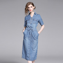 Dress Summer 2020 Blue (dot elastic waist drawstring lace up real pocket) M,L,XL,2XL Mid length dress singleton  elbow sleeve commute Elastic waist Dot zipper other Others 25-29 years old Type X Retro Zipper, tuck Denim other