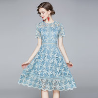 Dress Summer 2020 Blue (floral print) lace back zipper lining S,M,L,XL,2XL Miniskirt singleton  Short sleeve street Crew neck middle-waisted zipper routine Type A Lace Europe and America