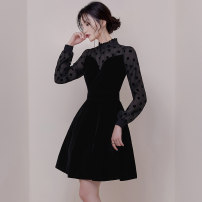 Dress Autumn of 2019 S,M,L,XL Miniskirt Fake two pieces Long sleeves commute stand collar High waist Dot zipper Big swing puff sleeve Others 25-29 years old Type X Retro polyester fiber