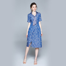 Dress Summer 2020 Tencel thin denim five pointed star epaulet side zipper M (five pointed star print for tie scarves), l (epaulets for tie scarves), XL (front split for tie scarves), XXL (2 pockets for tie scarves) Mid length dress singleton  Short sleeve commute other middle-waisted Socket other