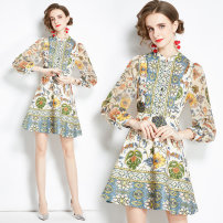 Dress Autumn 2020 Jacquard positioning with bubble sleeve and inner lining on the back zipper S,M,L,XL,2XL Long sleeves stand collar middle-waisted Decor zipper puff sleeve 25-29 years old Chiffon Cellulose acetate
