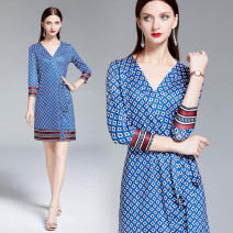 Dress Autumn of 2019 White Diamond print on blue background (button down cardigan skirt) S,M,L,XL Mid length dress singleton  three quarter sleeve street V-neck High waist Decor other A-line skirt routine Breast wrapping 25-29 years old Print, lace up Europe and America